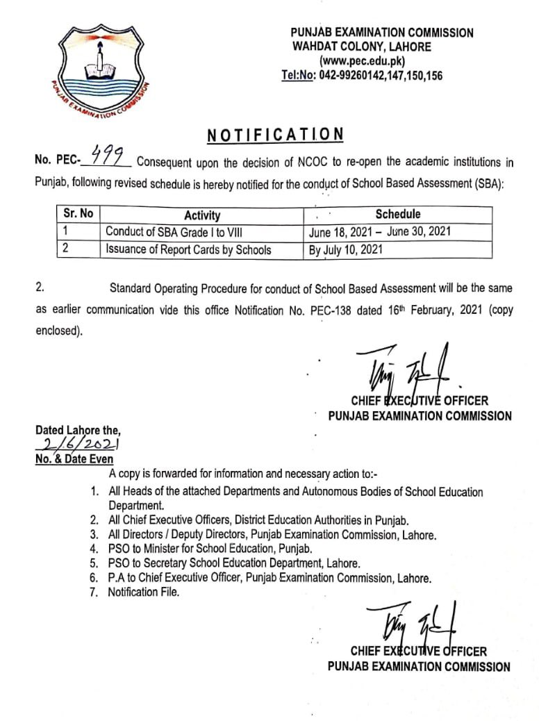 SBA PEC Examination Papers Notification 2021